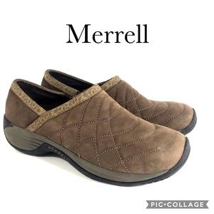 Merrell brown suede quilted women's slip ons 9.5